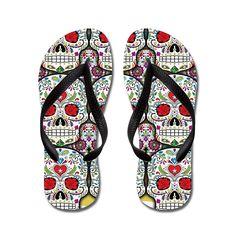 JKYUKO Sugar Skulls flip flops Adults S,Pink * See this great product.