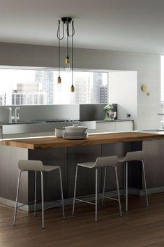 Graue Küche, Küchenfarbe Grau, Bild, Idee, Inspiration, Holztheke, moderne Kochinsel in Grau, Theke, Holztheke, Kücheninsel, Barstühle; Foto: Scavolini