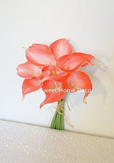 "Sweet Home Deco Latex Real Touch 15"" Artificial Calla Lily 10 Stems Flower Bouquet for Home/ Wedding (Coral) Sweet Home Deco http://www.amazon.com/dp/B00VJB28PY/ref=cm_sw_r_pi_dp_tmcjvb1E2HKH3"