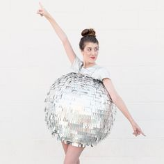 This DIY Disco Ball costume is gunning PRETTY hard for my #1 favorite spot! #StudioDIYinCostume