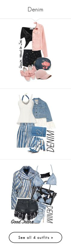"""""""Denim"""" by tina-kene ❤ liked on Polyvore featuring Yves Saint Laurent, Marques'Almeida, H&M, Kate Spade, Joshua's, Sole Society, Sea, New York, Exclusive for Intermix, Roberto Cavalli and BaubleBar"""