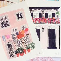 I've been busy packing up orders today. I love how these two colourful houses look together. One inspired by Lisbon the other by New Orleans. I love creating art work inspired by my travels. Cute Illustration, Watercolor Illustration, Watercolor Art, Makeup Illustration, Medical Illustration, Art Illustrations, Gouache Painting, Painting & Drawing, Drawing Tips