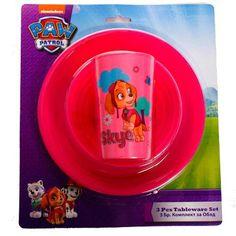 GIRLS PAW PATROL TABLEWARE SET 3 PIECE Dinner Wear, Sippy Cups, Pacifiers, Paw Patrol, Infants, 3 Piece, Babys, Toddlers, Bottles