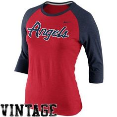 Nike Los Angeles Angels of Anaheim Cooperstown Collection Three-Quarter Sleeve Tri-Blend T-Shirt - Navy Blue/Red