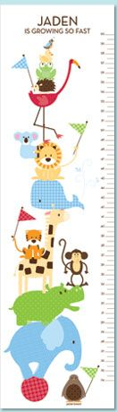 Zoo Friends Ocean Blue Personalized Growth Chart by Petite Lemon Prints. Frog, monkey, hippo — we've included all of his favorites in our Zoo Friends Animal Growth Chart. With a playful pile of animals all balanced atop a bouncy little ball, your little one is sure to enjoy spotting his favorite animals. Share in their joy while you capture his growth.