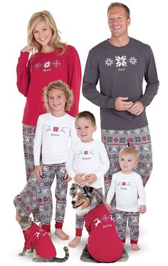 b6b9f77cfa Holiday Nordic Matching Family Pajamas- Red Gray - CQ17YQROGES