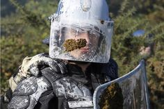 Oct. 30, 2012. A French riot gendarme smeared with paint stands guard after clashes with anti-airport protesters during an evacuation operation on land that will become the new airport in Notre-Dame-des-Landes, western France.