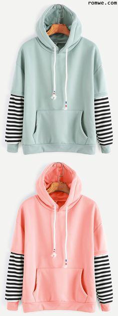 Striped Drawstring Hooded Sweatshirt