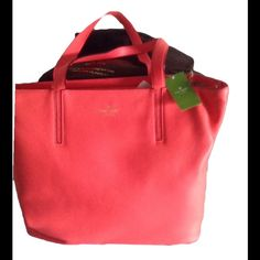 """Kate spade Elliott bag Authentic Kate spade bag. Dustbag included. The color is hard to describe to me it's like the inside if a watermelon and has black piping. It's a beautifu bag. L13""""xW19""""xD 6"""". Tassel on zipper closure is 6"""" long. Bnwt leather. 394 kate spade Bags"""