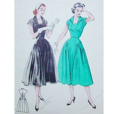 1950s Style Revere Collar Dress with Full by SewVintageSeamstress