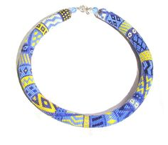 """Beaded crochet necklace """"Bright patchwork"""" - Bead Crochet Rope on Etsy, $56.00"""