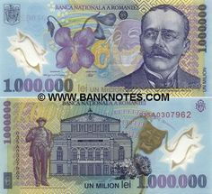 Romania 1 Million Lei 2003 Tragedy Mask, Money Notes, Story Writer, National Theatre, Old Building, Bucharest, Coin Collecting, Coat Of Arms, Short Stories