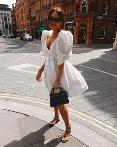 White Babydoll Dress, Babydoll Dress Outfit, Luxe Clothing, Mini Dress With Sleeves, Fashion Outfits, Womens Fashion, Dress Fashion, Spring Summer Fashion, Street Style