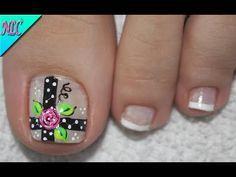 DISEÑO DE UÑAS ROSAS Y FRANCÉS PRINCIPIANTES - ROSES NAIL ART - FRENCH NAIL ART - NLC - YouTube Cute Pedicure Designs, Bridal Nails Designs, Nail Designs, Cute Pedicures, Pedicure Nails, Manicure, Toe Polish, Feet Nails, Nail Art