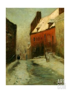 A Winter Street Scene, Montreuil, 1894 Giclee Print by Fritz Thaulow at Art.com