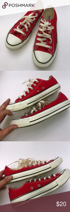 Converse All Star Red Tennies LOVE this color! Size 8, have been worn a little bit but overall in good shape. The canvas in particular is in great shape. T5 Converse Shoes Sneakers
