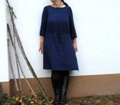 Boatneck jumper dress with long sleeves and tie waist