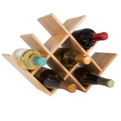 Bamboo 5 Bottle Stackable Wine Rack is adaptable to your space. Stack as many racks as you need, or mount on wall to display your wine collection. Wine Rack Wall, Wine Bottle Holders, Wine Bottle Crafts, Stackable Wine Racks, Wine Collection, Rack Design, Wine Storage, Kitchen Storage, Acacia Wood