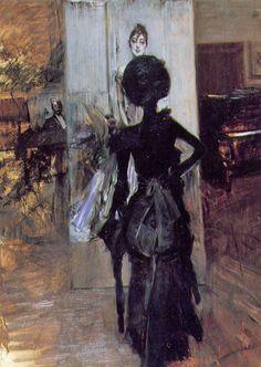 "Woman in black looking at the ""Pastel Ms. Emiliana Concha de Ossa"", c. 1888 by Giovanni Boldini (Italian 1842-1931)"