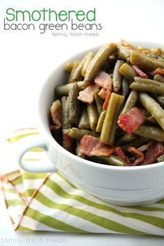 Easily made Paleo with some mods. Smothered Bacon Green Bean Casserole - Family Favorite Side Dish - FamilyFreshMeals.com