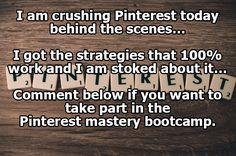 This bootcamp rocks!  Want to learn how to master Pinterest marketing?  Click the image now!  #pinterestmarketing  #pinterestmasterybootcamp