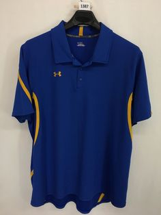 MENS 2XL XXL UNDER ARMOUR POLO SHIRT GOLF BLUE YELLOW SHORT-SLEEVE LOOKS NEW #Underarmour #PoloRugby