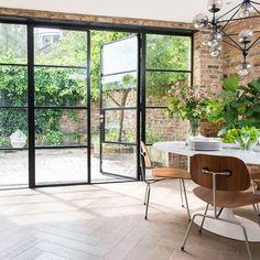 House Extension Design, House Design, Crittal Doors, Crittall Windows, Steel Doors And Windows, Steel Frame Doors, Steel Frame House, Black Window Frames, Metal Frames