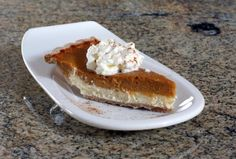 Layered Pumpkin Cheesecake Pie:  It's made with a luscious cream cheese layer. Serve this great-tasting pumpkin pie with a scoop of whipped cream dusted with cinnamon-sugar.