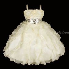 NW Flower Girl Princess Bridesmaid Wedding Pageant Party Dress Beige SZ 5-9 Q236