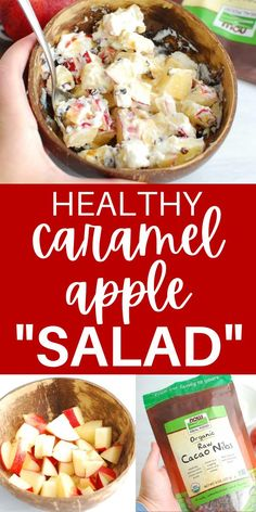 "This healthy caramel apple salad isn't your typical ""salad"" recipe. It's a play on the traditional snickers apple salad, but in a much more nutritious way and made with just 4 simple ingredients. This is one of my favorite fall desserts! (sponsored) #falldessert #apples #caramel #caramelapplesalad Caramel Apple Salad, Snicker Apple Salad, Caramel Apples, Raw Cacao Nibs, Healthy Snacks, Healthy Recipes, Eat Seasonal, Balanced Meals, Fall Desserts"