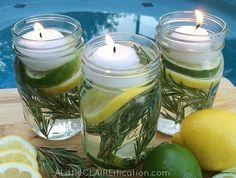 DIY mason jar bug repellent 4 Mason Jars 40 drops each – Cedarwood, Lavender, Lemon and Thieves essential oils (or use your own combination of oils but these are known to help to repel the buggies) 2 fresh lemons 2 fresh limes 8 sprigs fresh rosemary water Floating tea light candles