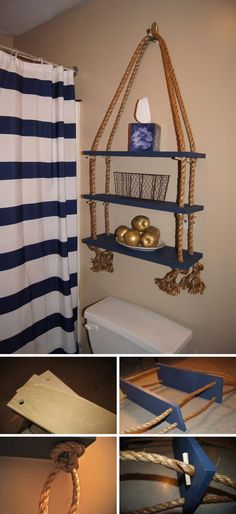 Different colors & use for sure, but this idea w/ the ropes - 35 DIY Over The Toilet Rope Shelf