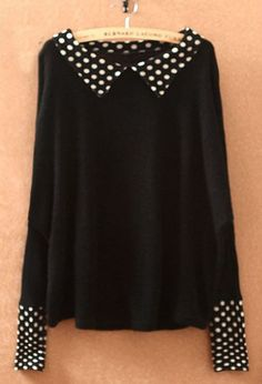 Black Lapel Long Sleeve Polka Dot Pullovers Sweater