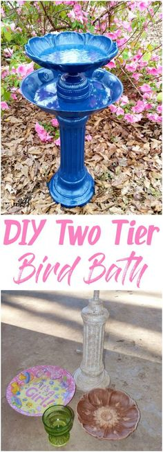 Learn how to build your own two tier bird bath this spring. Your feathered friends will love you for it! Visit thriftymuse.com to see how it's done.