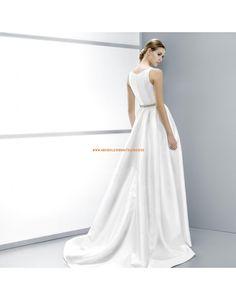 Schlichte A-linie ärmellose Hochzeitskleider aus Satin Vestidos de novia - Jesús Peiró
