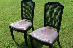 painting cane back chairs   cane back chair set from Goodwill. Upholstered with tapestry fabric ...