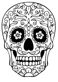 http://colorings.co/simple-sugar-skull-coloring-pages/ #Coloring, #Pages