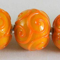 GMD Lampwork Beads SUNNY SCROLLS 5 scrolled rounds artisan SRA