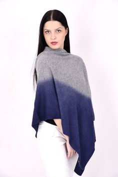 Our extremely popular cashmere dip dyes poncho is back in stock! These beautiful pieces are hand dyed. Cashmere Poncho, Dip Dyed, Bordeaux, Turtle Neck, Cream, Classic, Sweaters, Silver, Blue