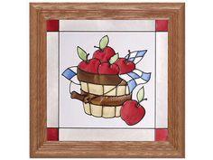 13x13 Stained Art Glass APPLE BASKET Fruit Framed Suncatcher Panel