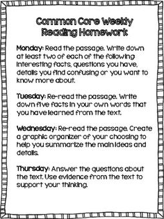 Tweek for elementary Common Core weekly reading homework.perfect for close reading strategies! Reading Homework, 5th Grade Reading, Reading Workshop, Homework Ideas, Reading Lessons, Reading Skills, Teaching Reading, Teaching Ideas, Guided Reading