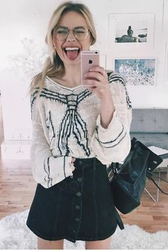 Sonya Esman wearing  Wildfox Couture Hey Sailor Cosette Sweater, Nakedvice The Kelly