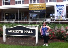 Samantha in front of Meredith Hall-An all female dorm on Purdue's campus.