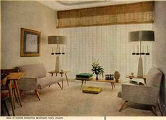 Gorgeous interior - Ad for Rich's Department Store in Atlanta, 1952.  I LOVE the window treatments.