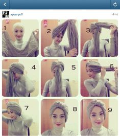 Turban tutorial- I recommend it with an under-scarf and another scarf draped aro. - Turban tutorial- I recommend it with an under-scarf and another scarf draped around the neck Turban Hijab, Mode Turban, Turban Tutorial, Hijab Style Tutorial, Muslim Fashion, Hijab Fashion, Beau Hijab, Simple Hijab, Head Scarf Styles