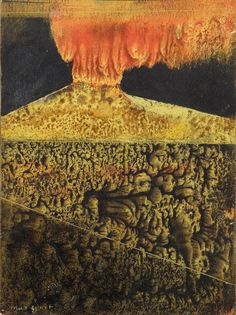 blastedheath: Max Ernst (French, born Germany, 1891–1976), Vulcano, late 1940s. Oil and mixed media on cardboard, 12.5 x 9 cm.