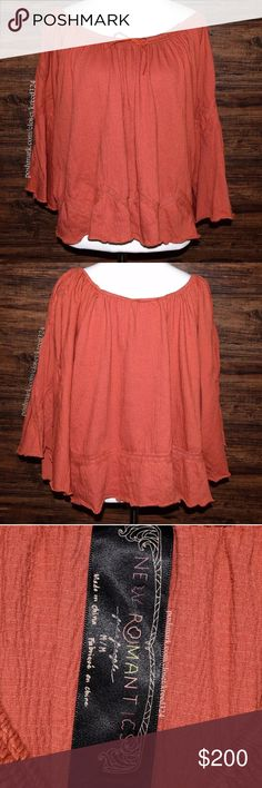 FREE PEOPLE Classic Top Patterned Bohemian Blouse Condition: Excellent, no flaws. MSRP: $98.00 + tax.  Size: Medium.   • Banded off-the-shoulder blouse with crinkle textured detailing. • Embroidered geometric eyelets on sleeves & hemline. • Can be worn off shoulder. • Unlined, unfinished trim.  • Rust (faded red) in color.  • FP New Romantics.  • Measurements provided in comment(s) section below.  {Southern Girl Fashion - Closet Policy}  ✔️ Same-Business-Day Shipping (10am CT). ✔️ Price…