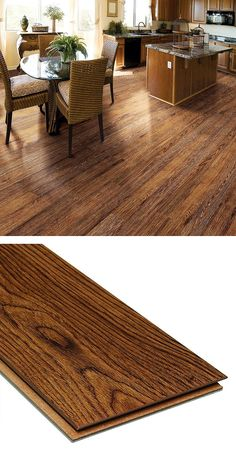 These laminate flooring planks look just like wood. The planks have an attached foam underlayment, reducing noise and providing shock absorbing cushion. This product has also achieved GREENGUARD Indoor Air Quality Certification.