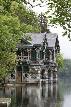 Exterior, vertical, new boat house, on Upper St. Regis Lake, Camp Topridge, Paul Smiths, New York, Maple Island Log Homes