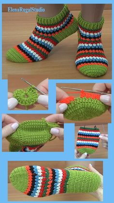 How to Crochet Bright Sock Socks Lesson 290 - Handmade Easy Crochet Slippers, Knit Slippers Free Pattern, Crochet Slipper Pattern, Crochet Patterns, Knitted Booties, Crochet Boots, Crochet Baby Shoes, Crochet Simple, Unique Crochet